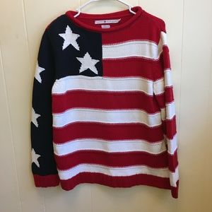 TOMMY HILFIGER AMERICAN FLAG COTTON SWEATER. LARGE